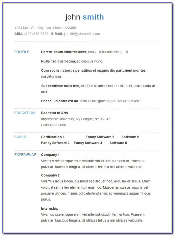 Job Resume Templates Free Microsoft Word