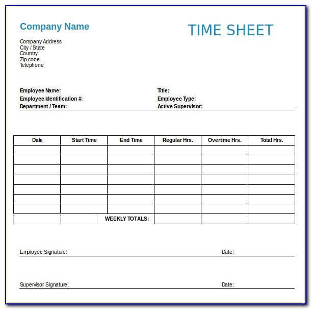 Job Timesheet Template Free