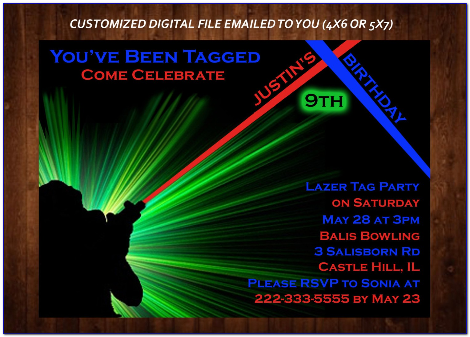 Laser Tag And Bowling Party Invitations Template Free