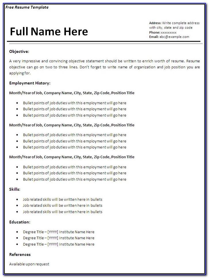 Latest Resume Format Free Download Pdf Templates Word Template For Format Of Resume Free Download Format Of Resume Free Download