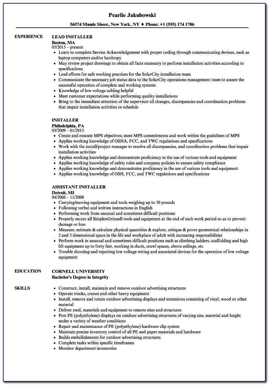 Lead Solar Installer Resume