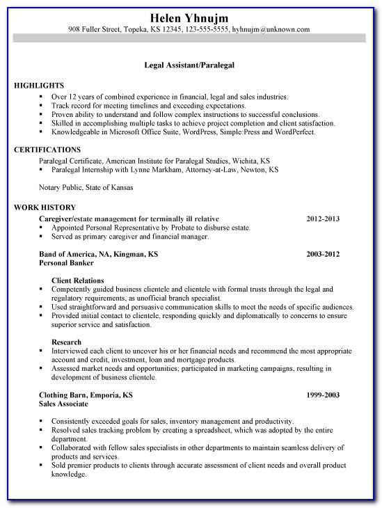 Legal Secretary Resume Template Free