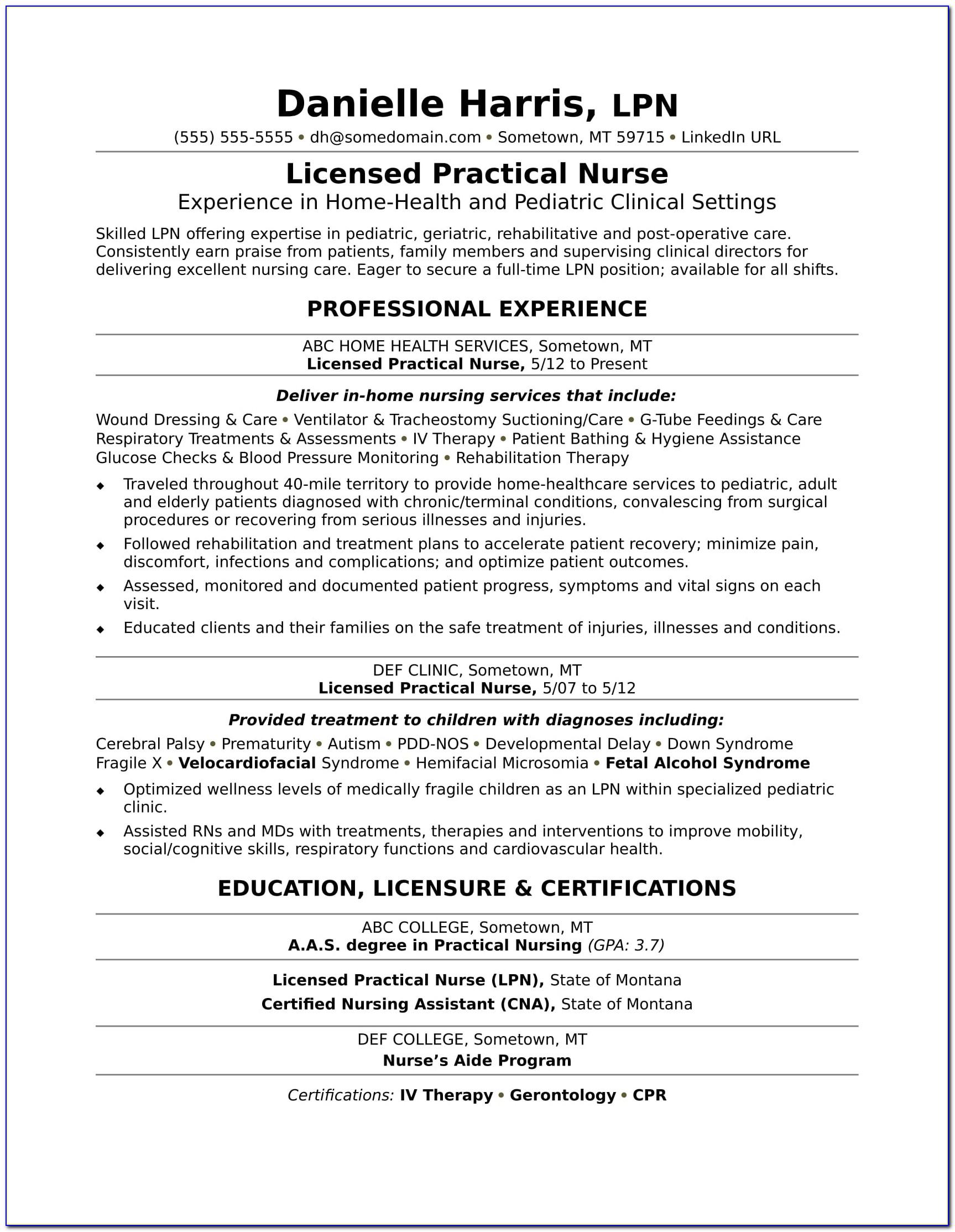 Licensed Practical Nurse Resume Examples