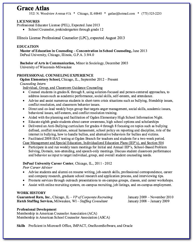 Licensed Professional Counselor Resume Templates