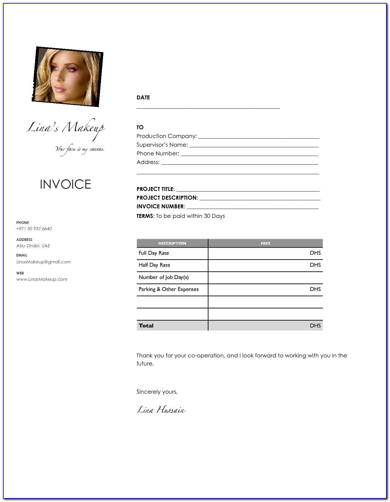 Makeup Artist Invoice Template Free