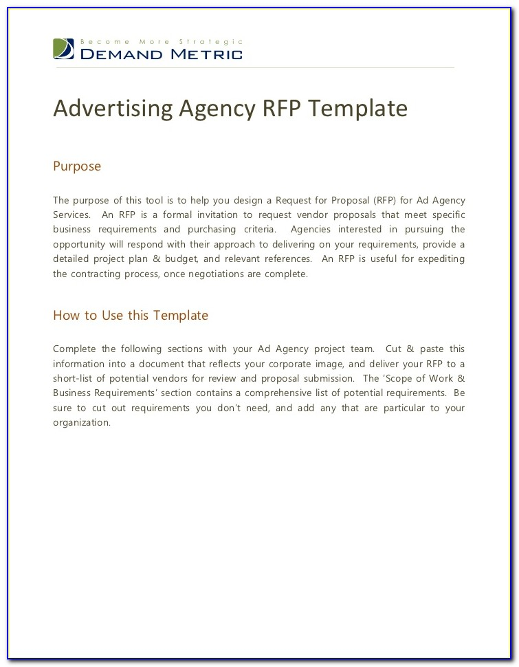 Marketing Agency Rfp Template