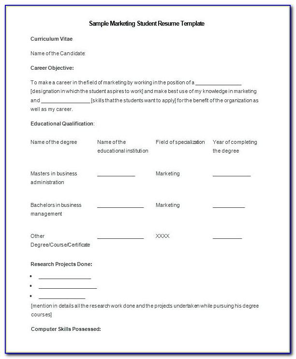 Marketing Resume Format Free Download