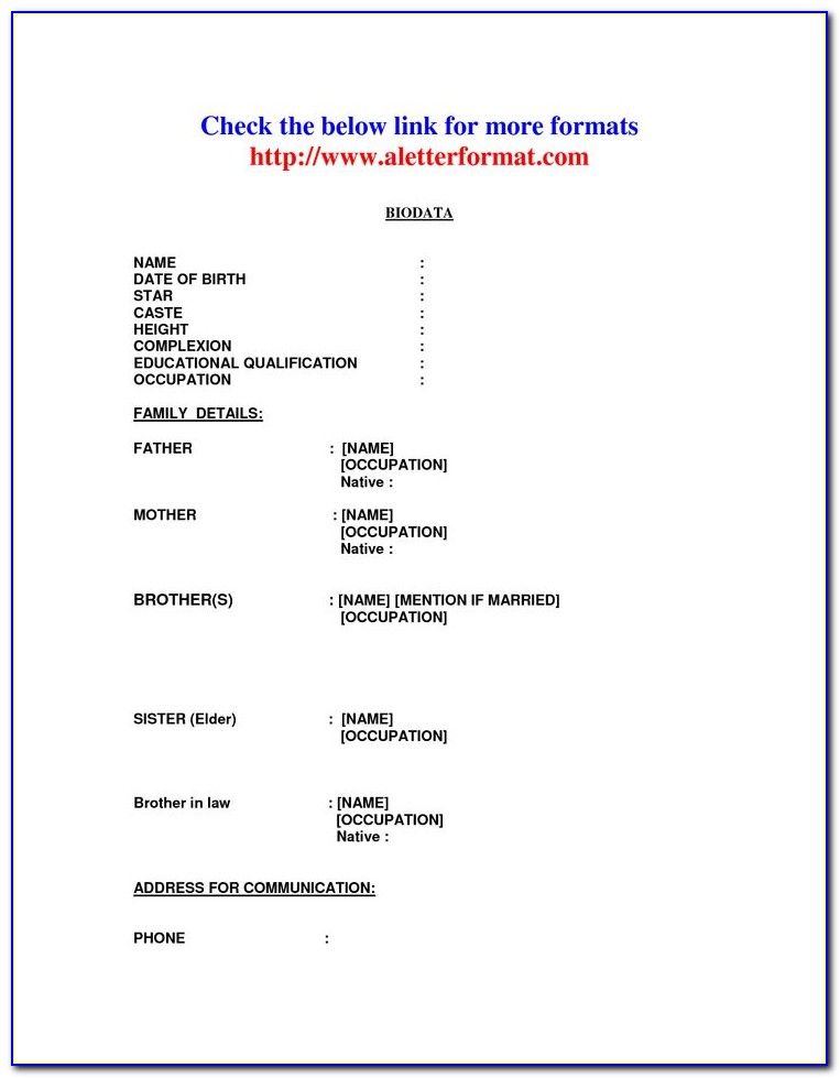 Marriage Resume Format For Boy In English