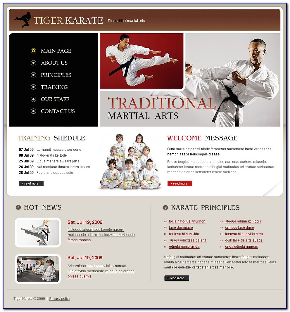 Martial Art Website Templates
