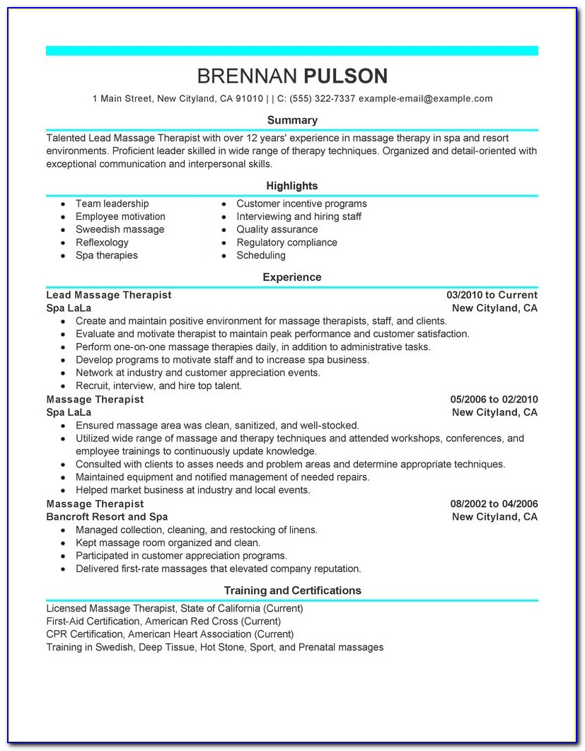 Massage Therapist Resume For Beginners