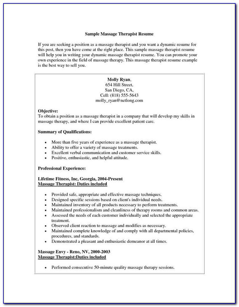 Entry Level Massage Therapist Resume Resume Examples For Massage Pertaining To Massage Resume Examples