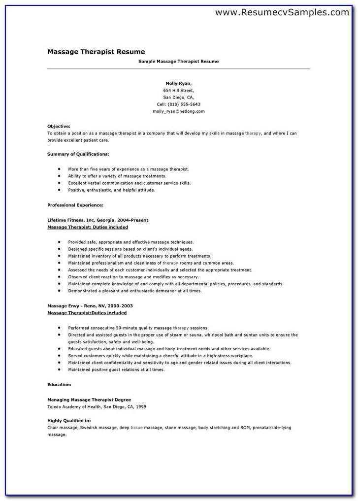 Sample Massage Therapist Resume Cover Letter With Regard To Massage Therapist Resume Sample