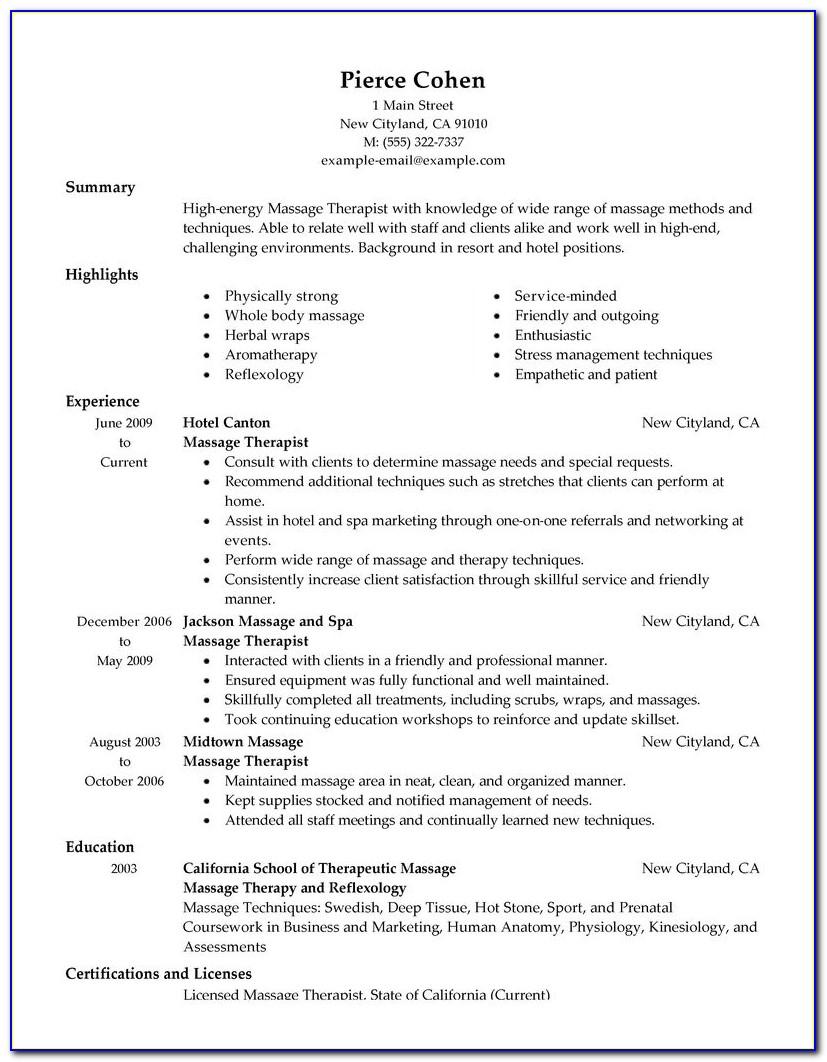 Massage Therapist Resume Template