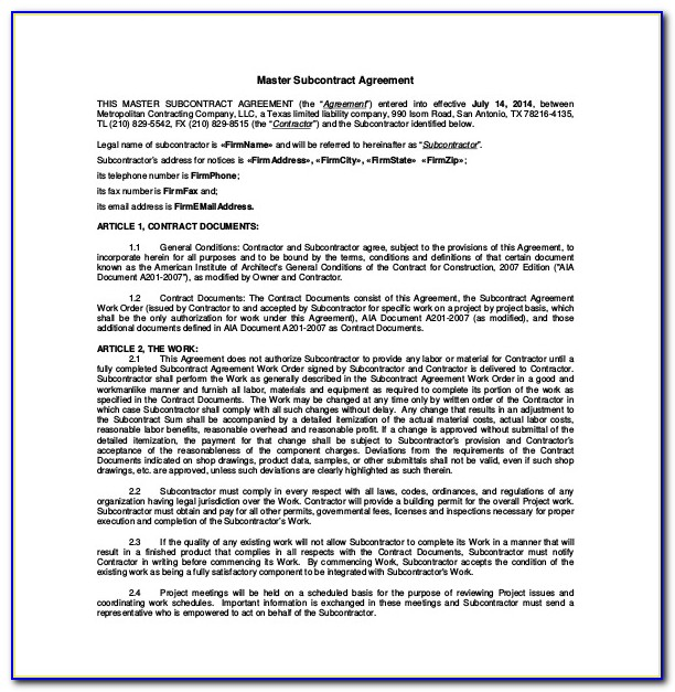 Master Subcontract Agreement Template