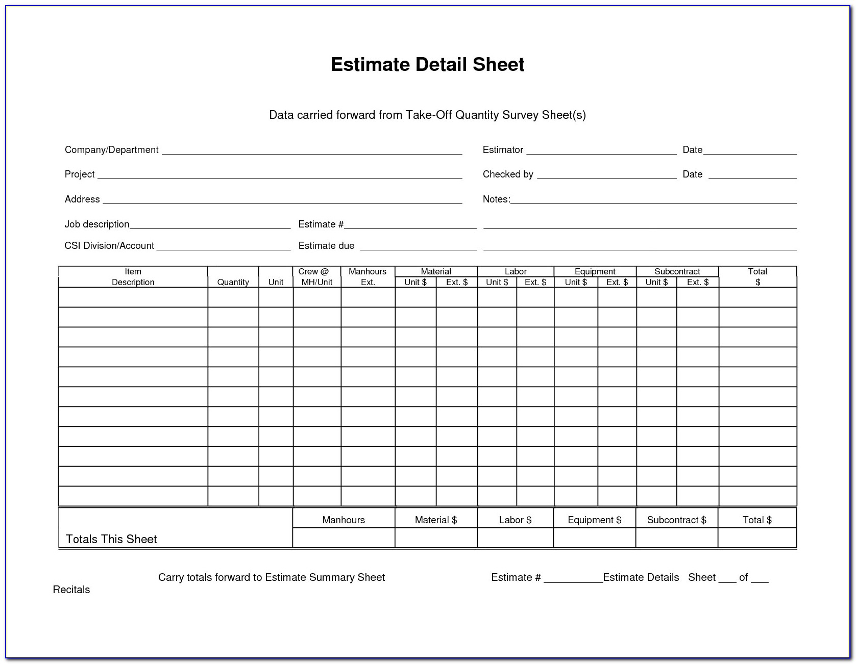 Material Takeoff Sheet Template