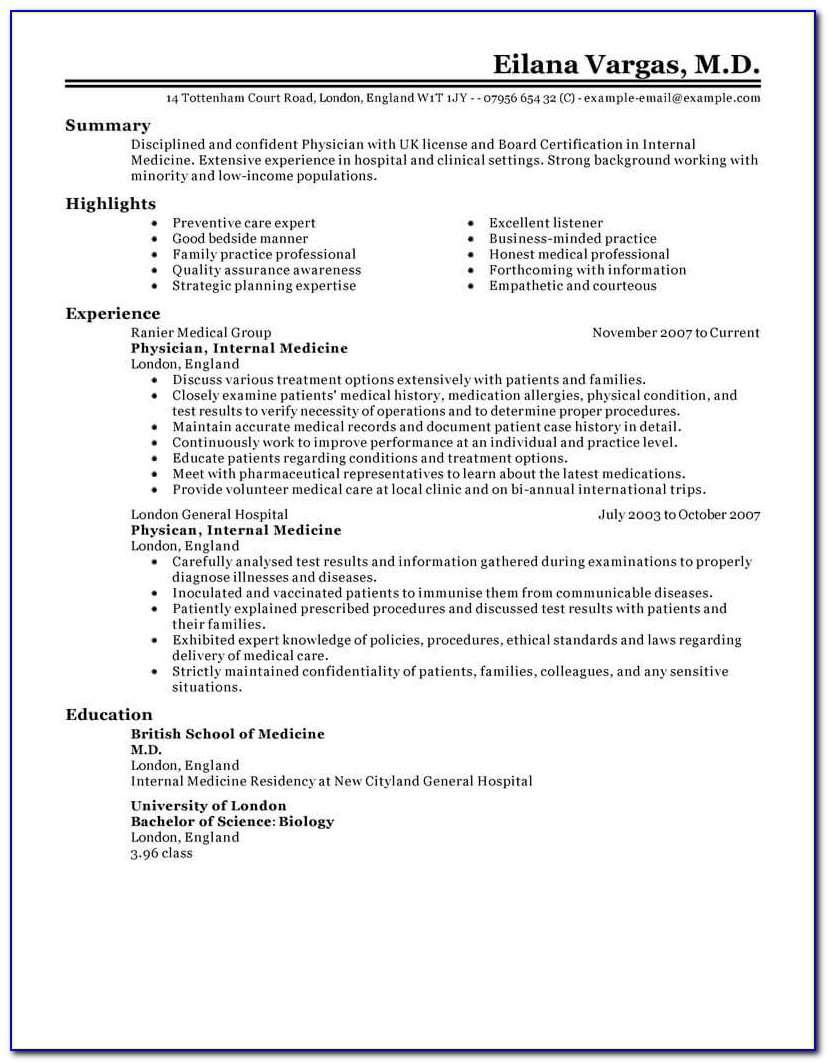 Mbbs Doctor Resume Template