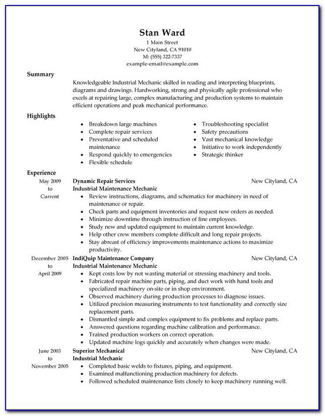 Mechanic Resume Template Download