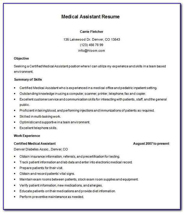 Medical Assistant Resume Samples Free