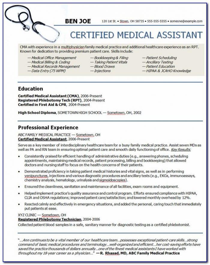 Medical Assistant Resumes Samples