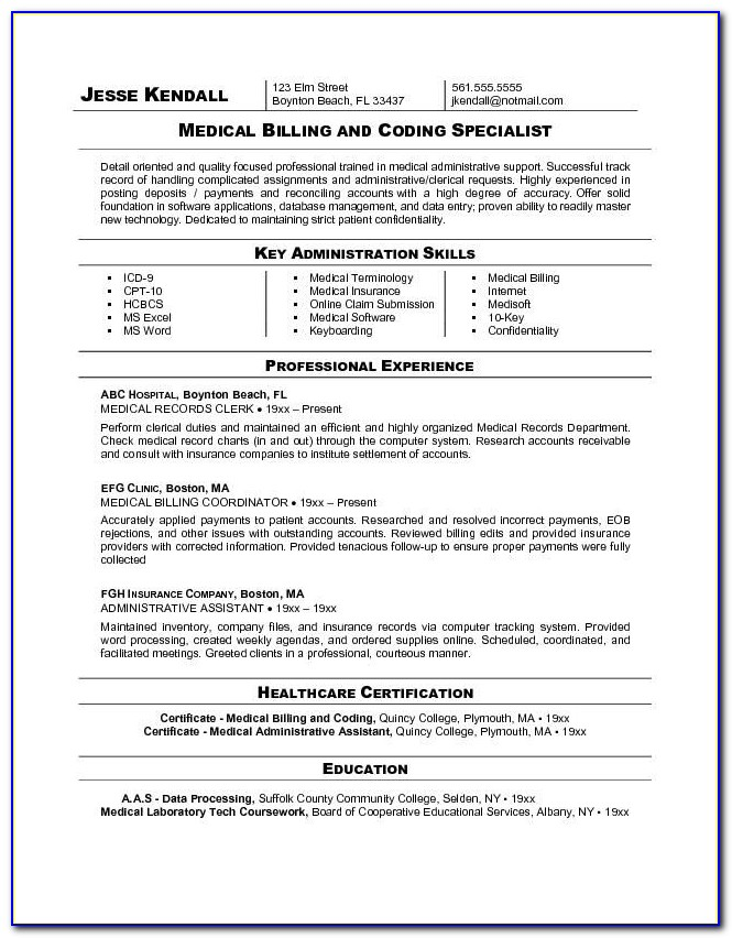Medical Billing And Coding Resumes