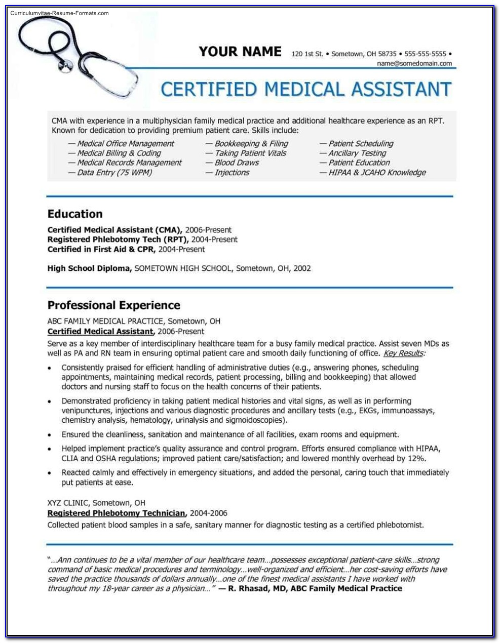 Medical Assistant Resume Templates Free