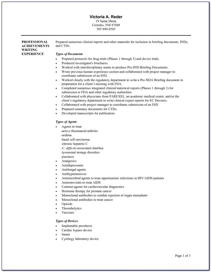 Medical Writer Resume Sample