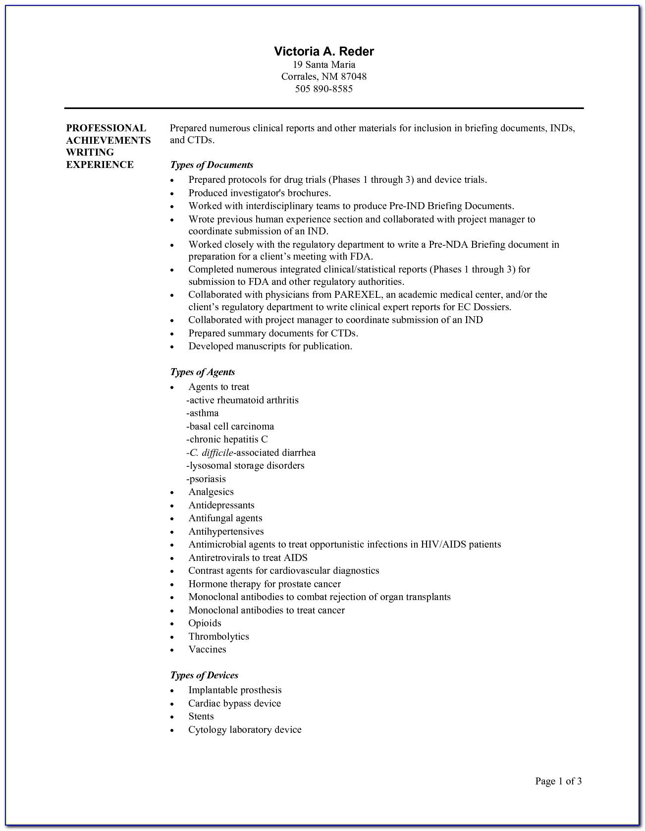 Medical Writer Resume Sample
