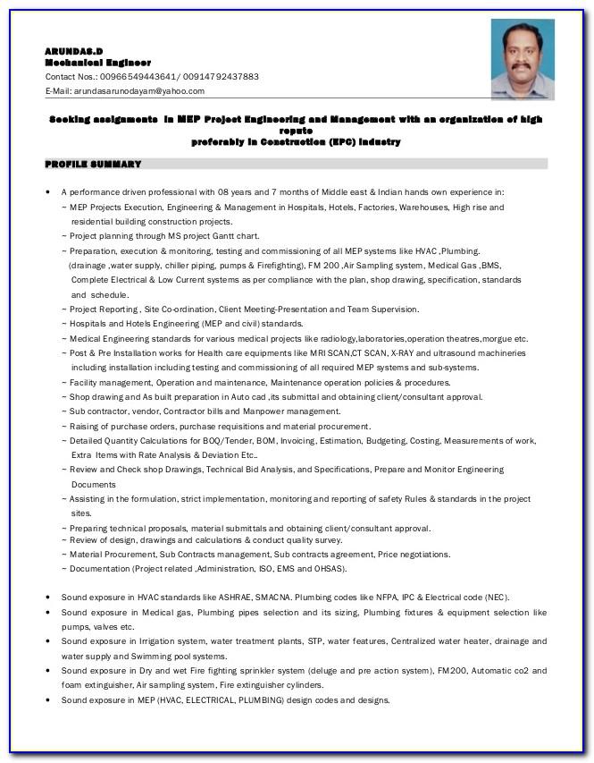 Mep Electrical Engineer Resume Pdf