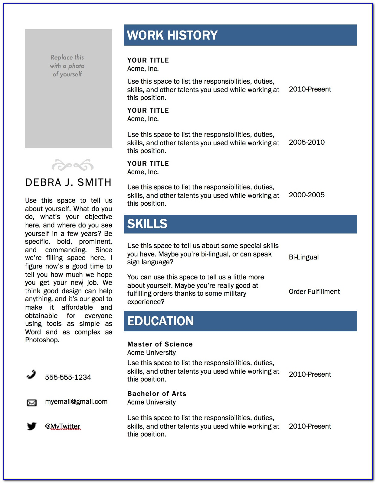 Microsoft Office Resume Templates Free Download