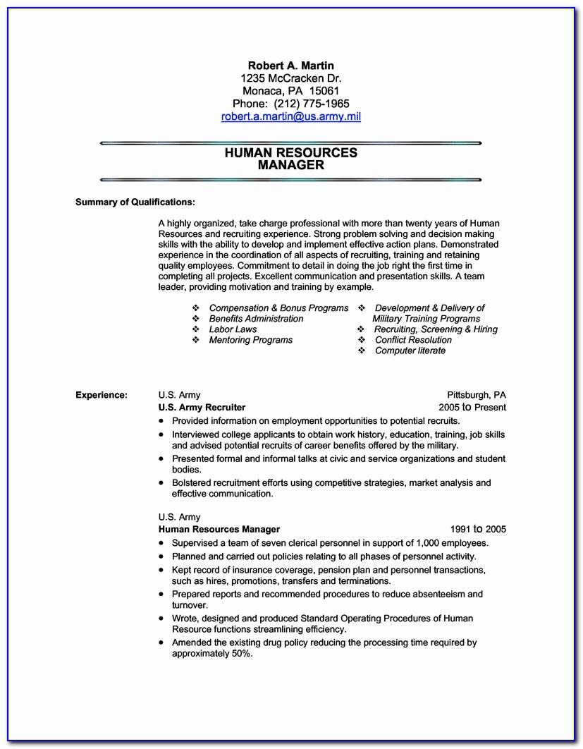 Military Resume Templates Free