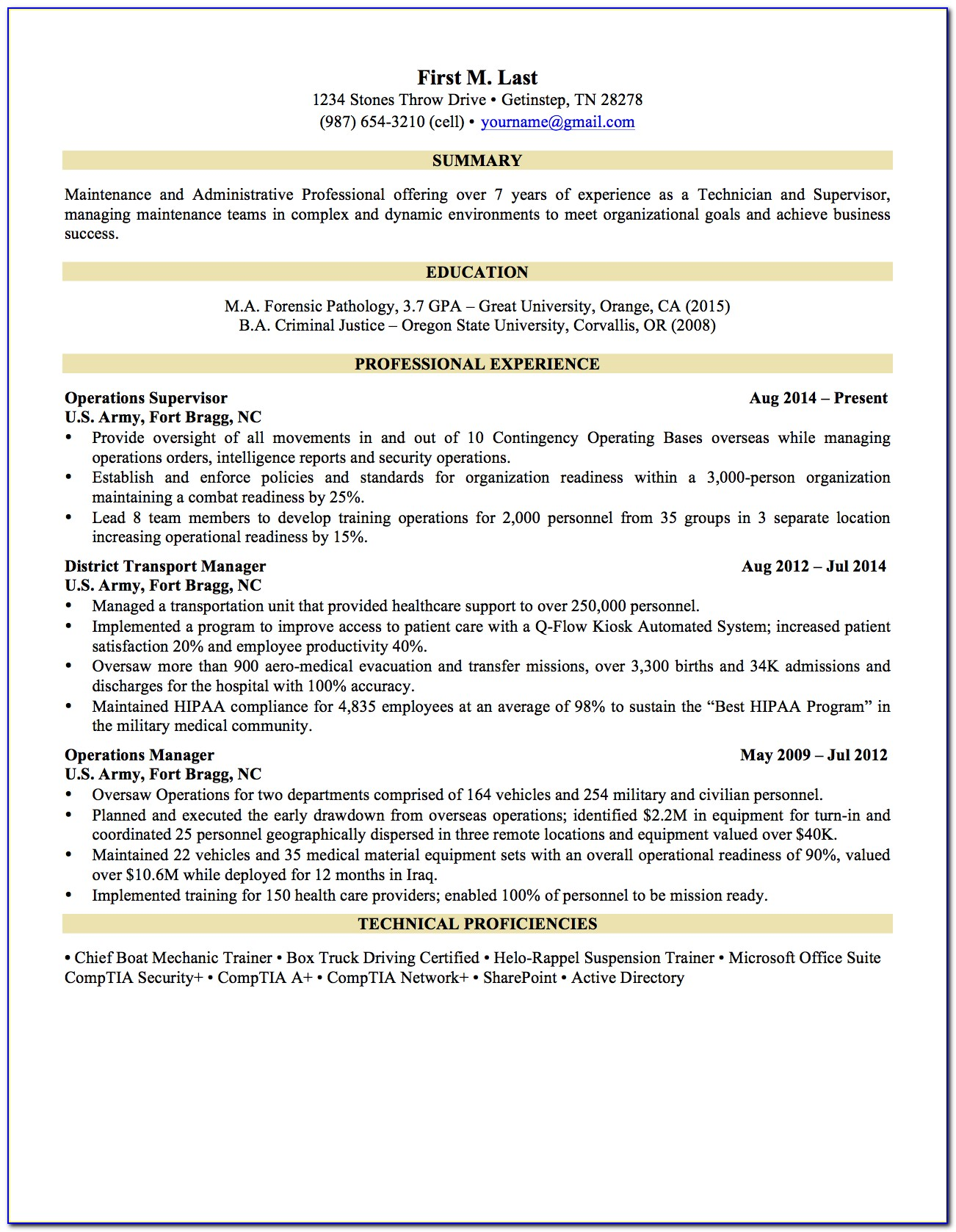 Military Transition Resume Templates