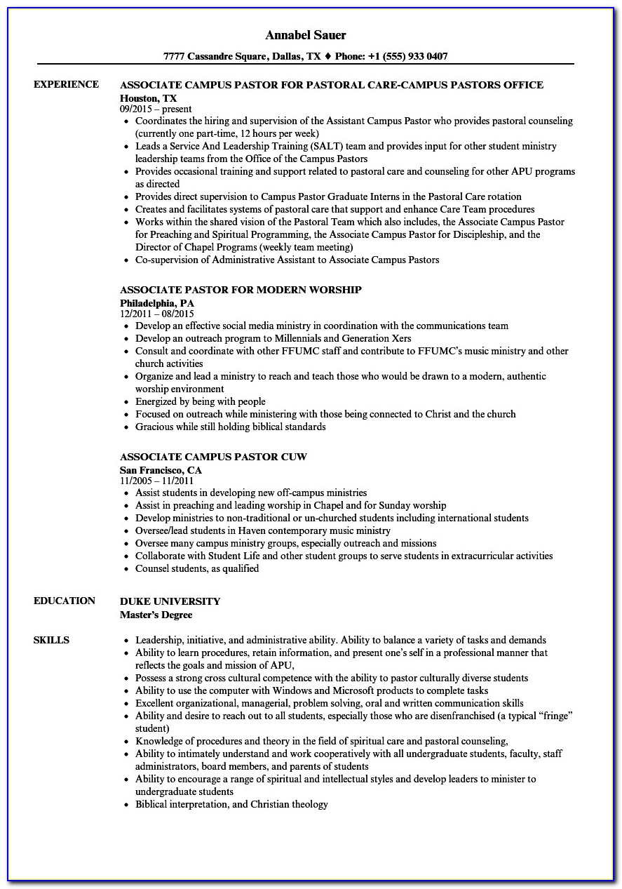 Minister Resume Template