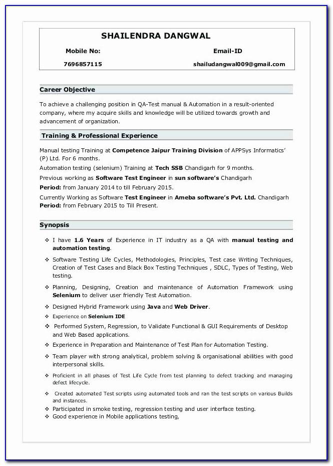 Or Mobile Application Testing Resume Sample
