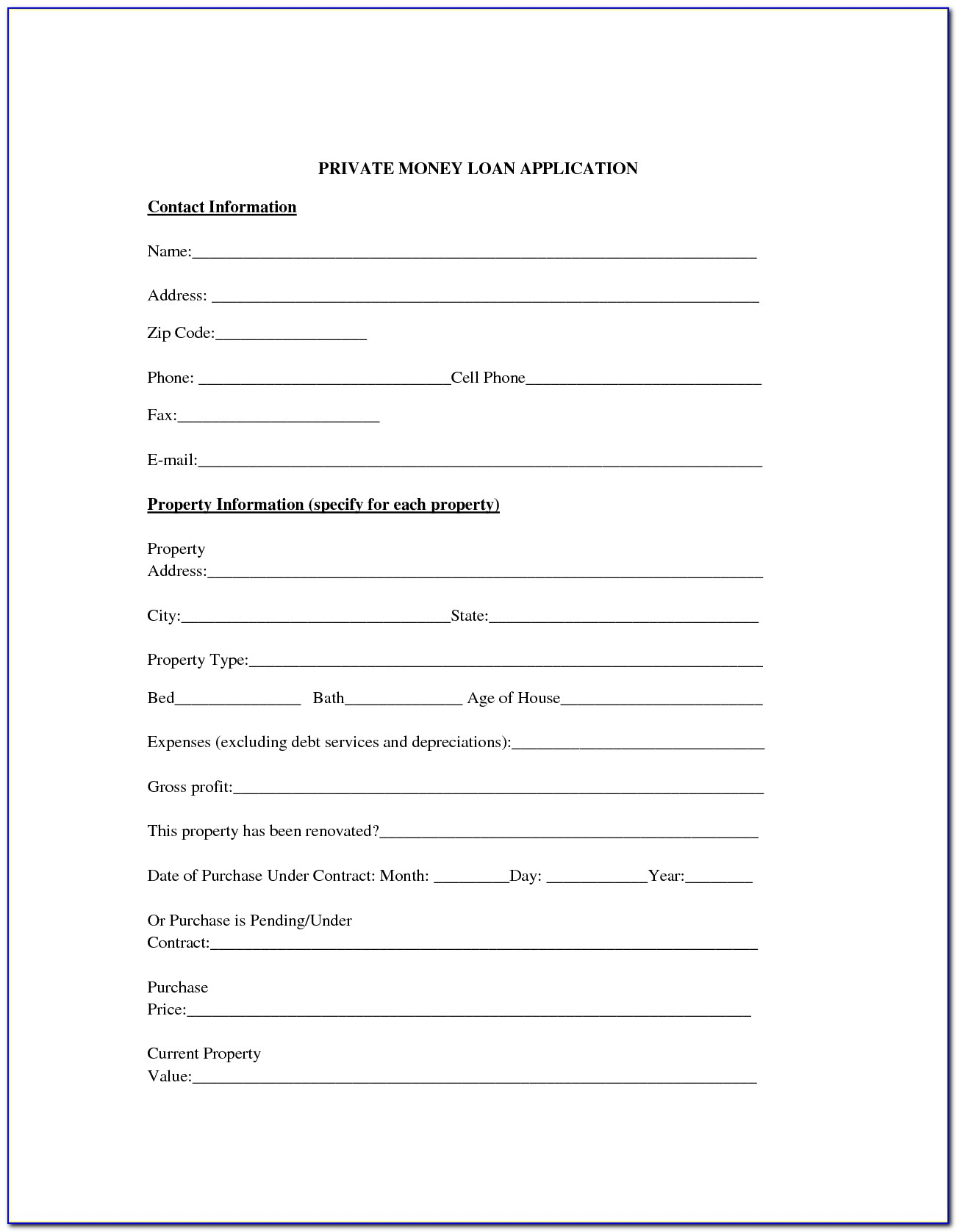 Money Loan Contract Example