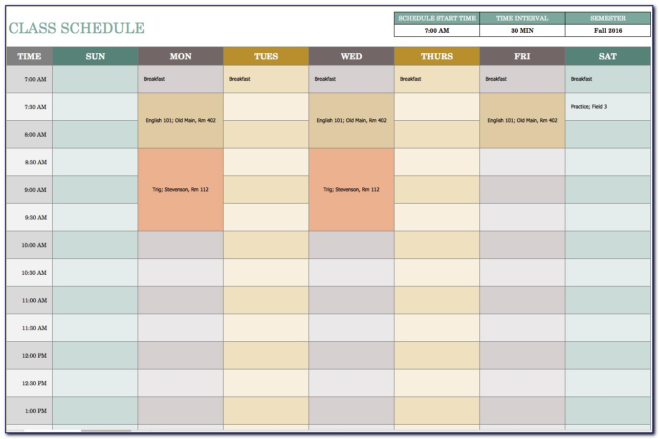Monthly Schedule Template Excel Free Download