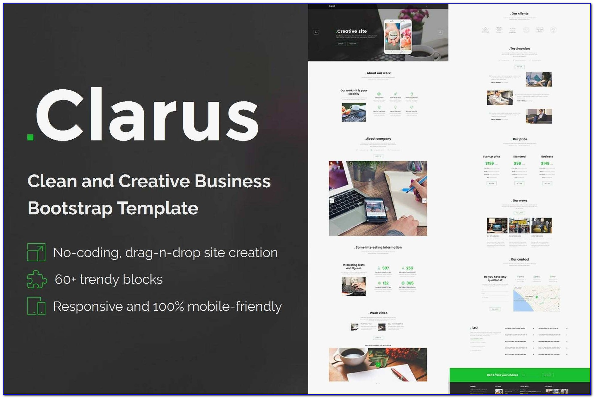 Sitebuilder Templates Examples Beautiful Clarus Mobirise Html Site Builder By Theme Express On Envato Elements