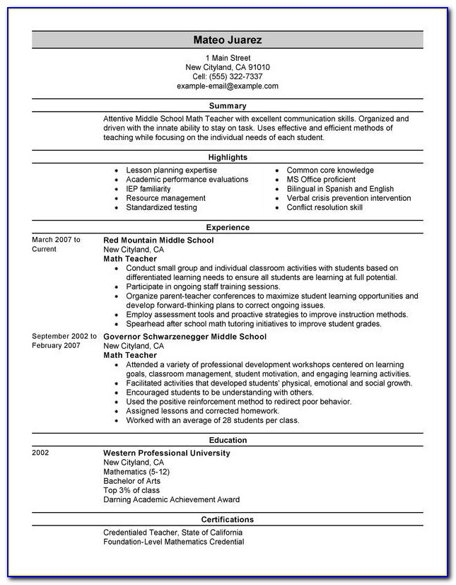 Unforgettable Teacher Resume Examples To Stand Out | Myperfectresume Intended For New Teacher Resumes