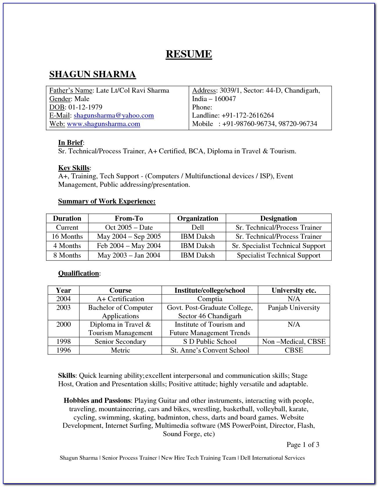 Resume Format Fresher Sample Resume Format