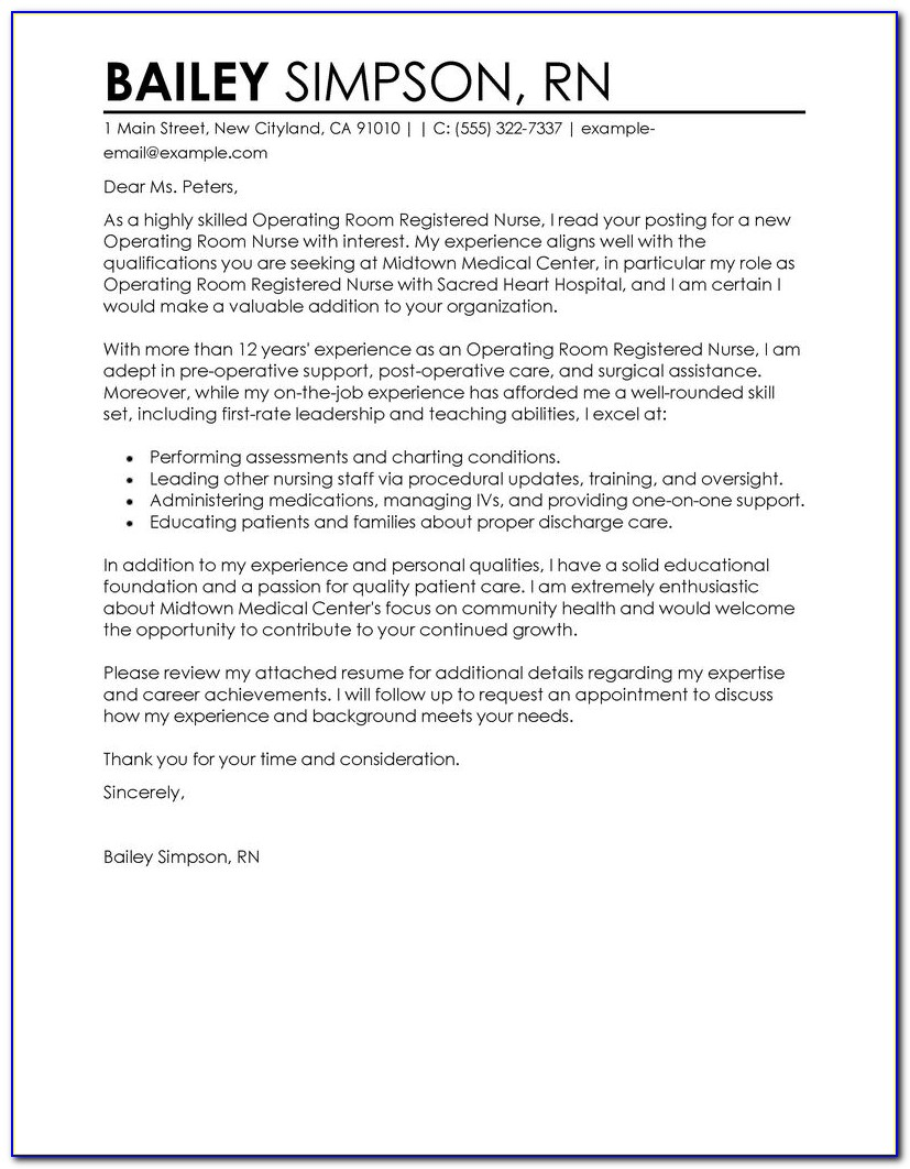 Nurse Cover Letter Examples For Resume