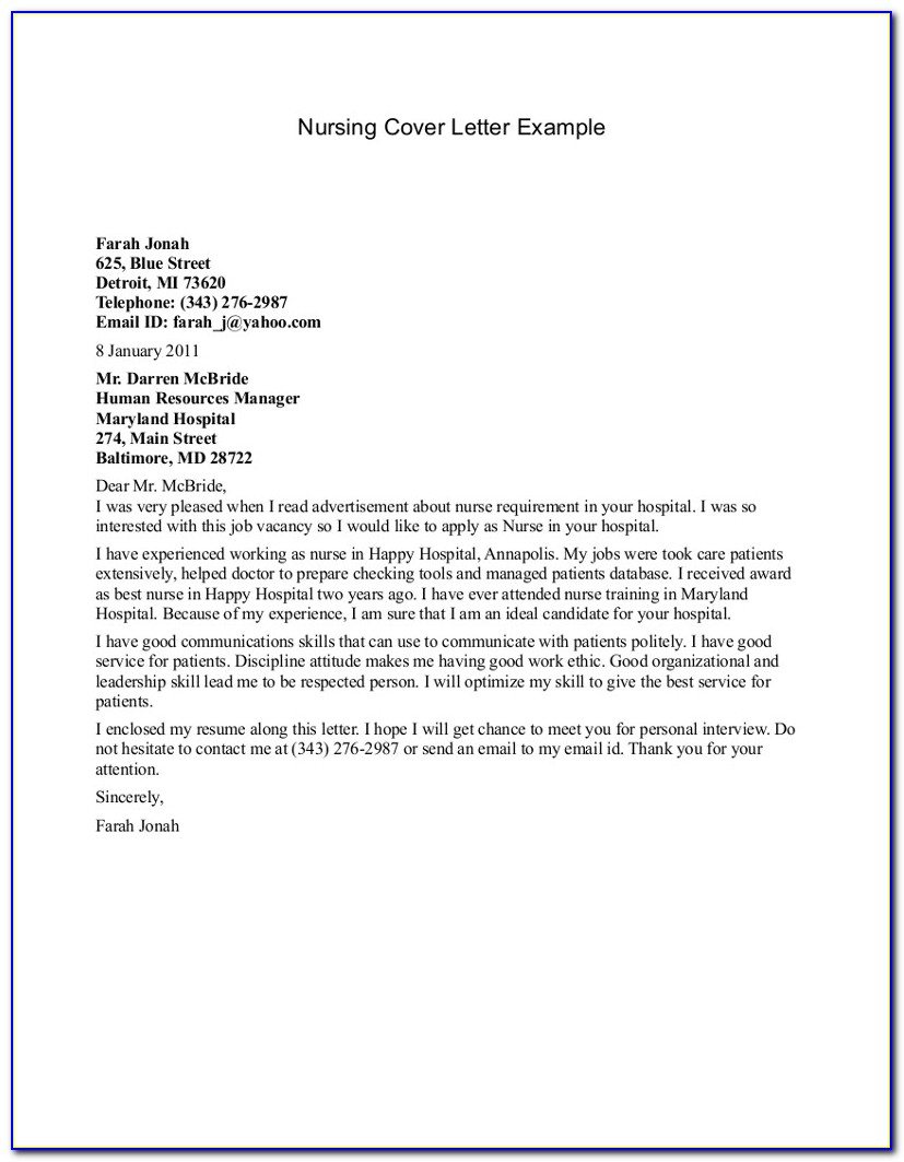 Nursing Cover Letter Examples For Resume