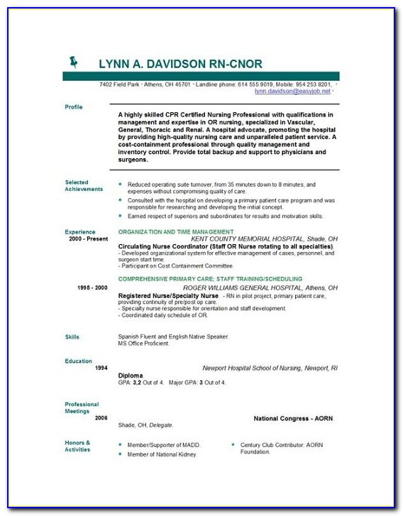 Nursing Resume Template Free
