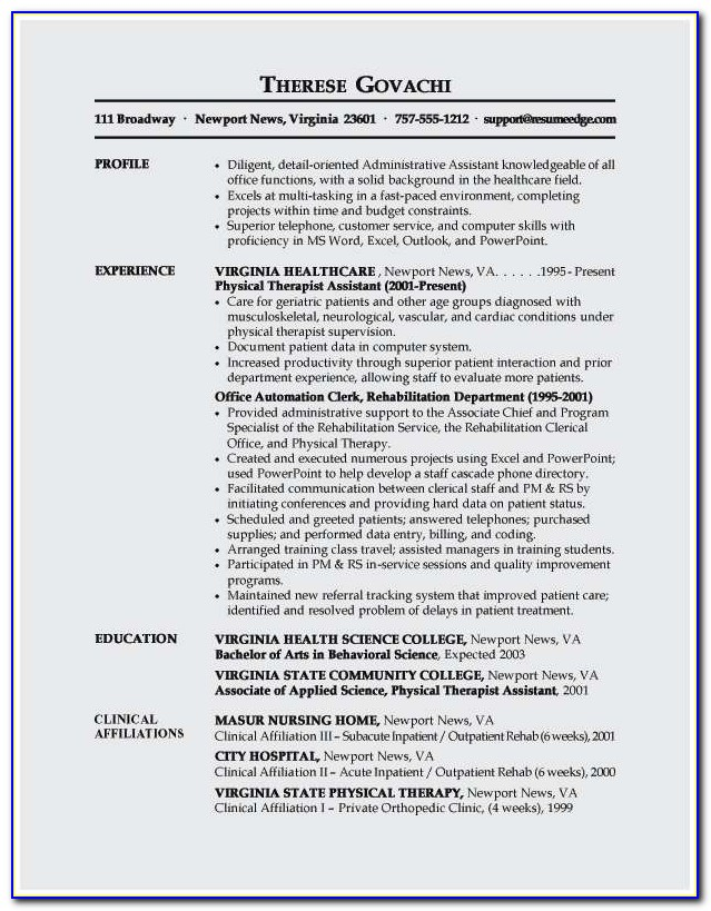 Objective Resume Examples For Medical Assistants
