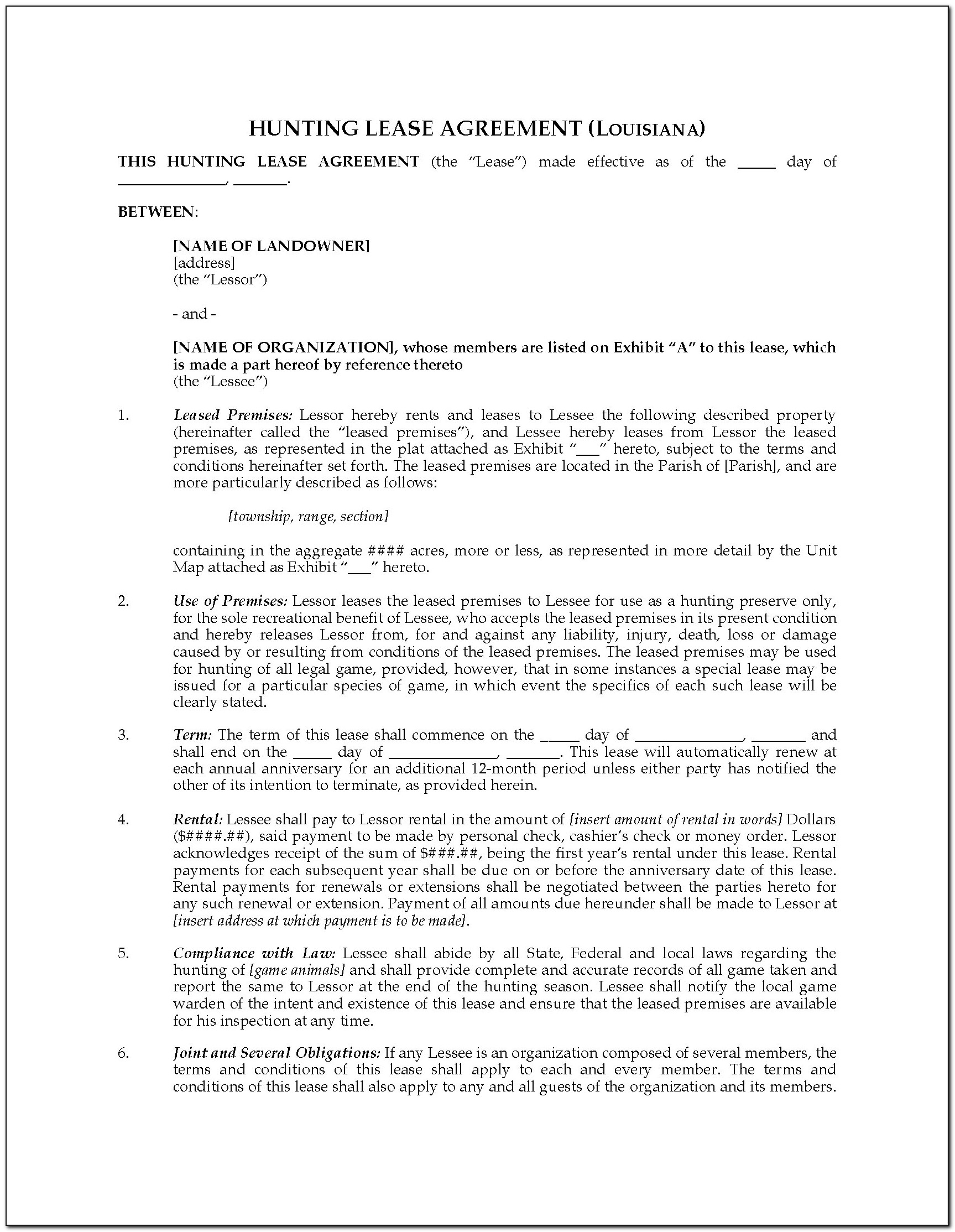 Ohio Hunting Lease Agreement Template
