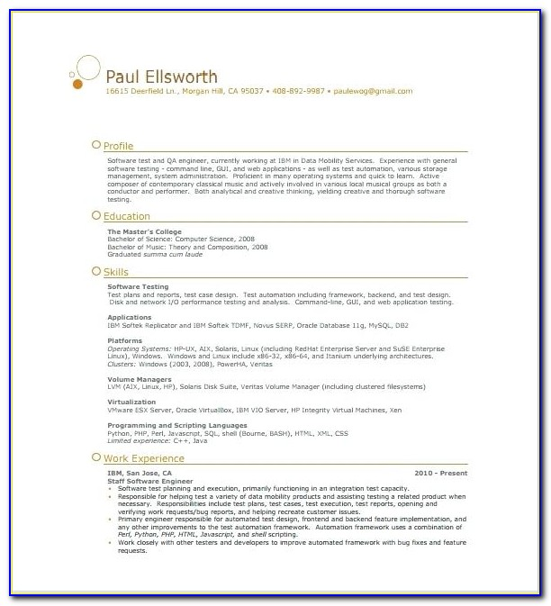 One Page Simple Resume Template Word Free