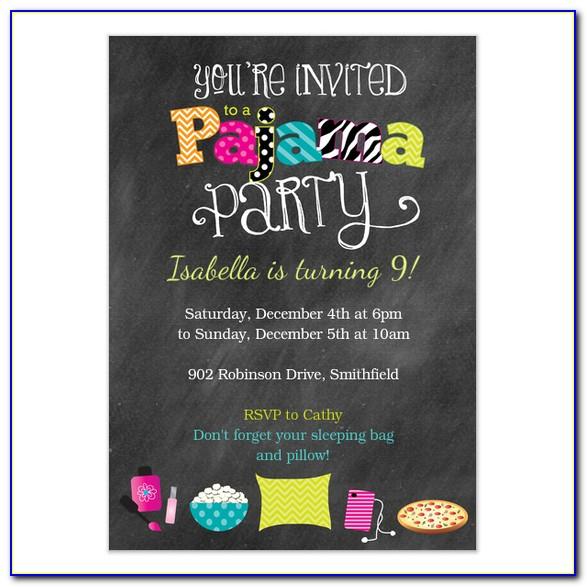 Pajamas Party Invitation Cards