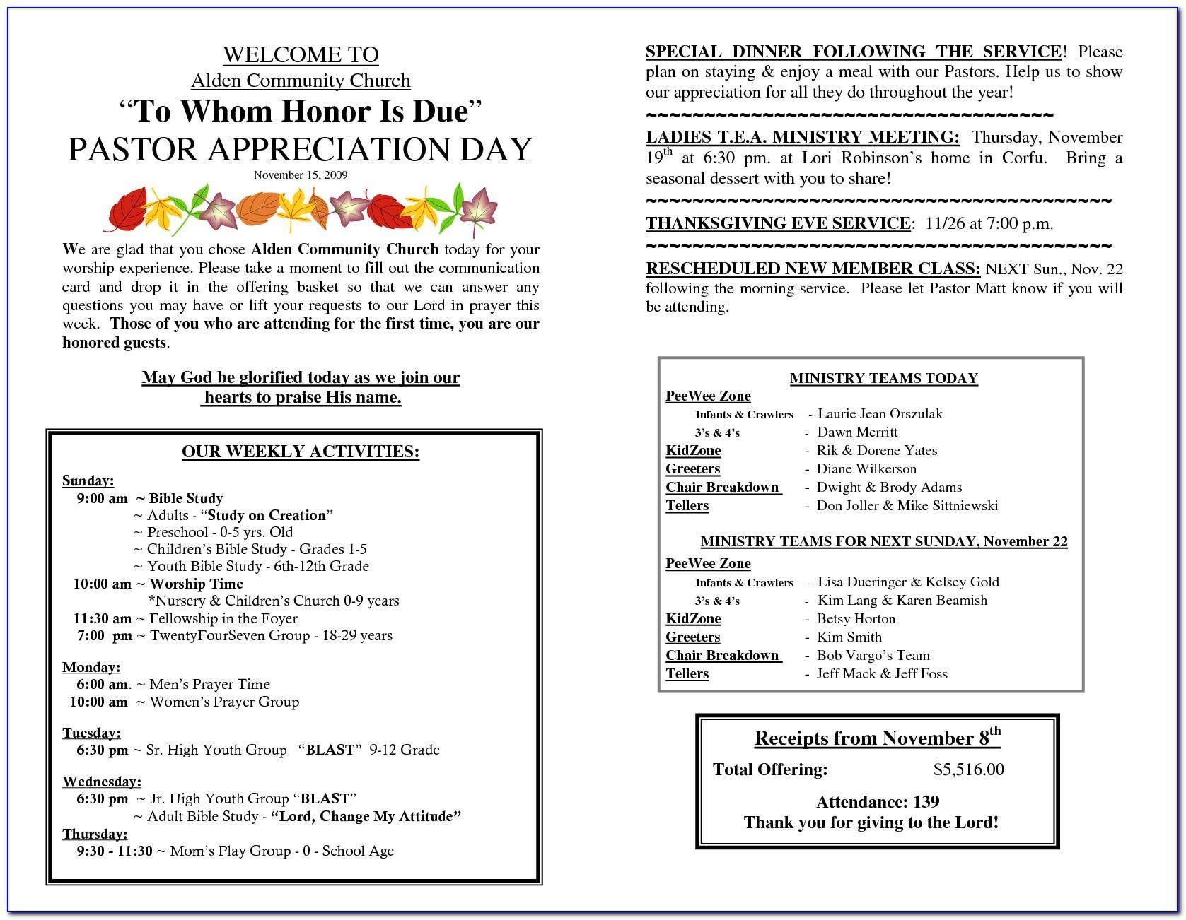 Pastor And Wife Appreciation Program Template