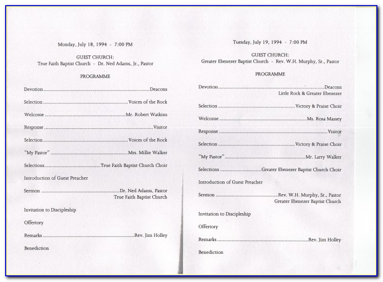 Pastor Appreciation Program Template Free