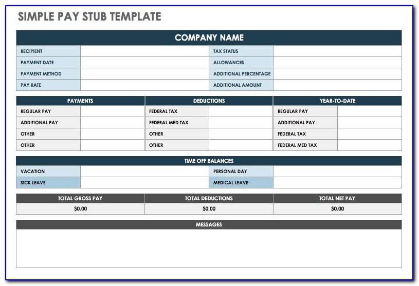 Payroll Stub Template Excel Free