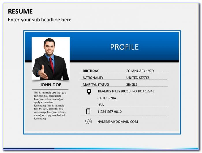 Personal Cv Powerpoint Template Free Download