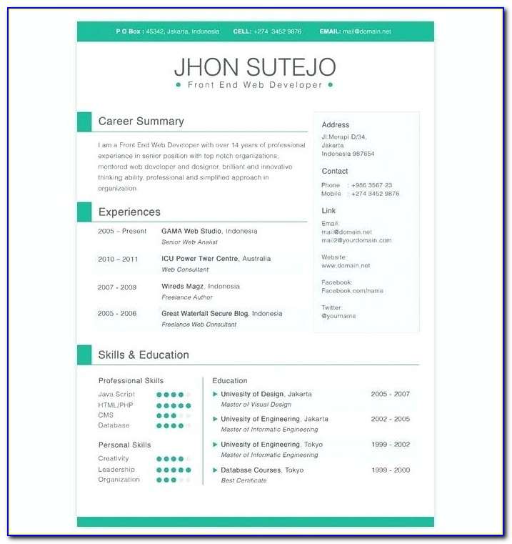 Personal Resume Website Template Free Download